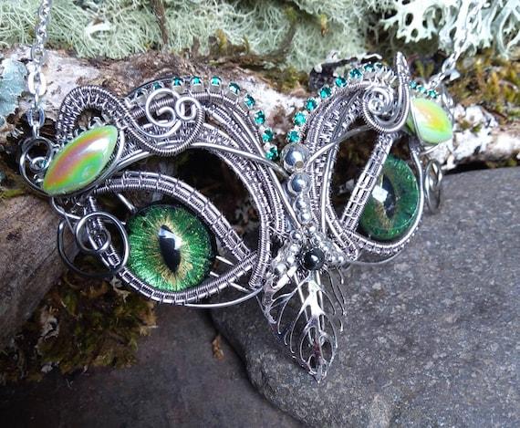 Gothic Steampunk Green Cat Eye Owl Necklace