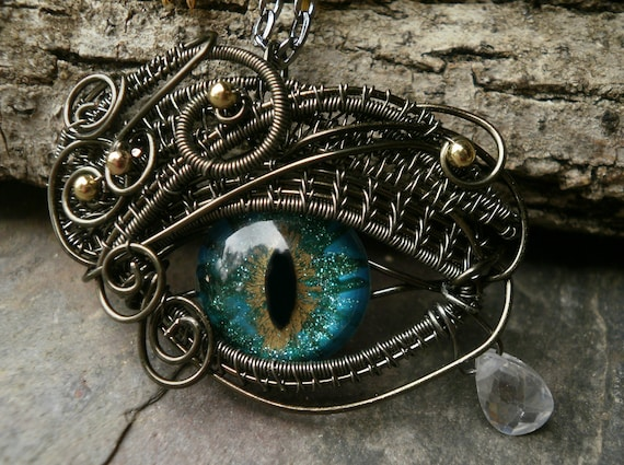 Gothic Steampunk Green Blue Gold Eye Pendant Small Size