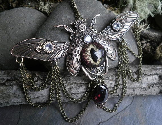 SALE! 30% OFF! Gothic Steampunk Gold Evil Eye Beetle Necklace with Red and Clear Cubic Zirconia and Chains