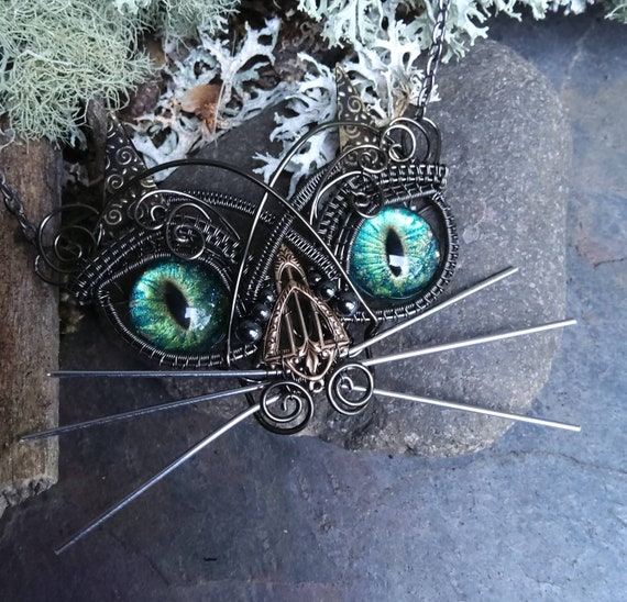 Gothic Steampunk Wired Kitty Cat Necklace with Blue Green Eyes