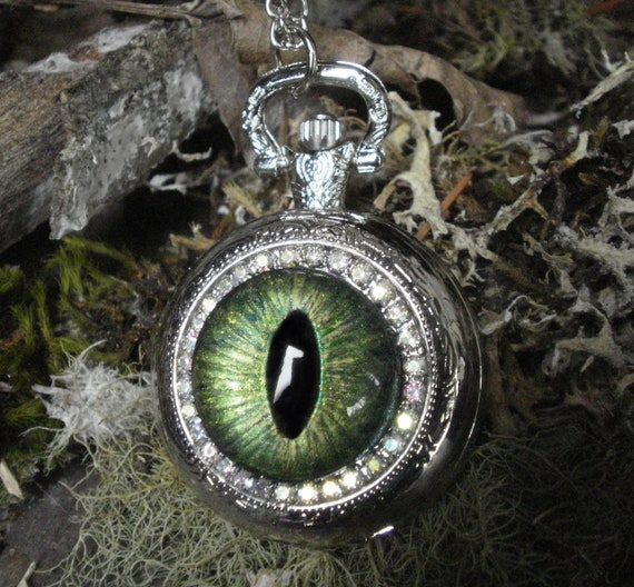 Gothic Steampunk Green Evil Eye Silver Pocket Watch