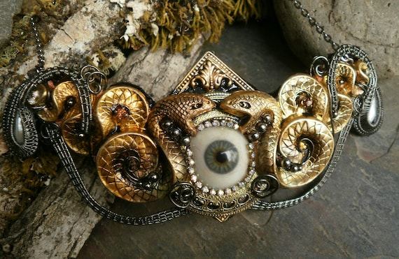 Gothic Steampunk Blue Eye, Pearls and Snakes Necklace