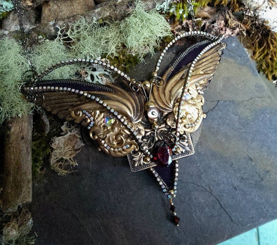 Gothic Steampunk Wings and Tiny Winter Gods Necklace