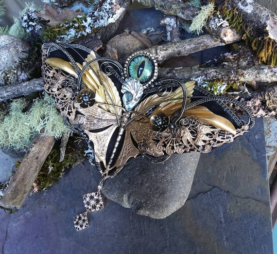 Gothic Steampunk Dragonfly and French Wings Necklace