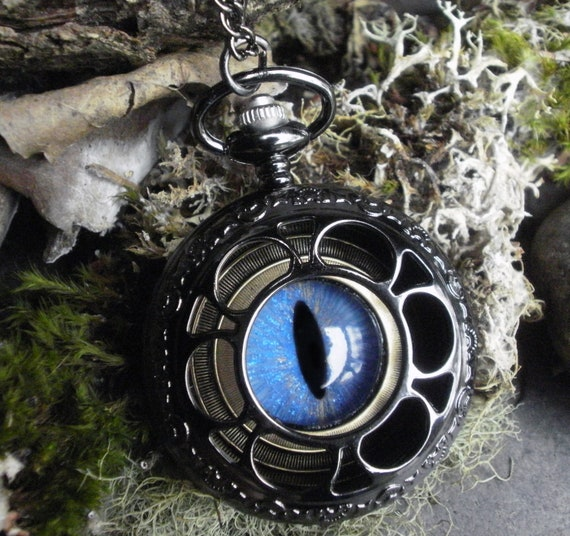 Gothic Steampunk Blue Evil Eye Dark Pocket Watch