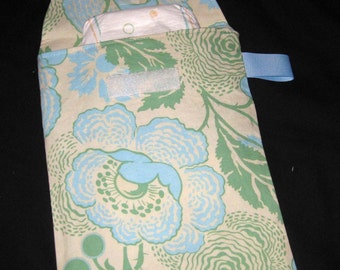 Sale!! 50% OFF - Green Fresh Poppies Diaper Clutch with a Pocket- Ribbon Color May Vary - Ready to ship
