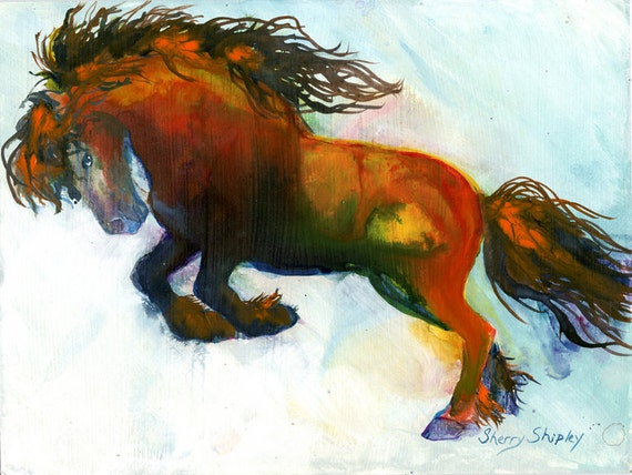 SHOW OFF 8x10   HORSE Print from Artist Sherry Shipley