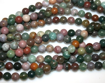 "INDIAN AGATE Gemstone Beads 6mm round 16"" strand  64Beads  81715M"
