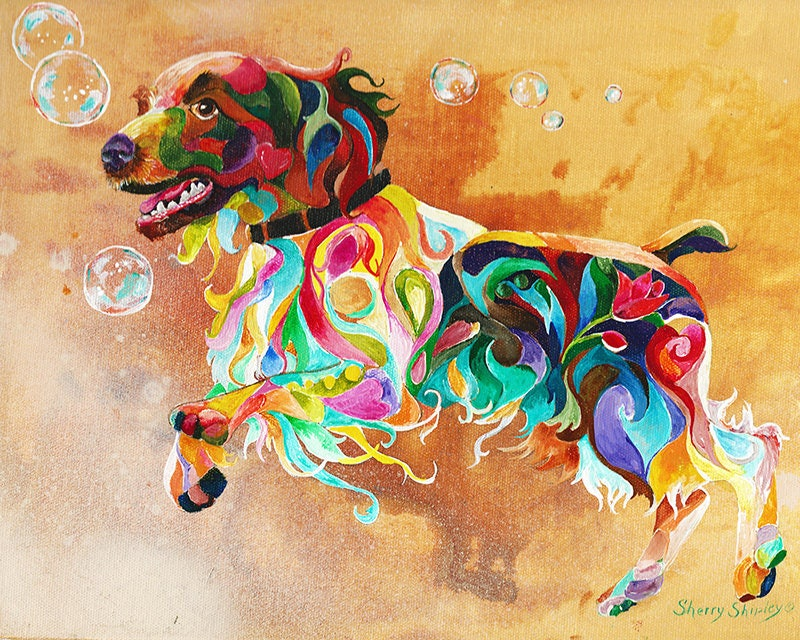 COLOR ME COLLIE 8X10 DOG Print from Artist Sherry Shipley