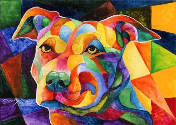 POMERANIAN 8X10  DOG Colorful Print from Artist Sherry Shipley
