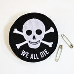 Skull Patch, Embroidered Patch on Care Diem Card, Punk Jacket Patch