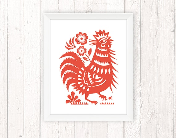 Rooster Art Print for Kitchen, Housewarming Gift, Chinese Rooster Chicken  Print