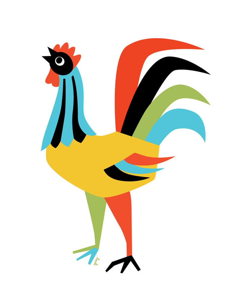 Retro Farmhouse Modern Wall Art Rooster Art Print Colorful Kitchen Art