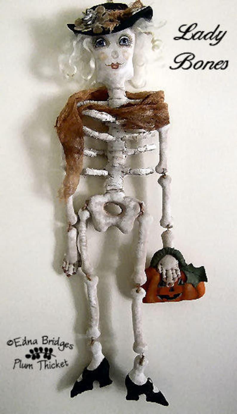 Cloth Doll Pattern Lady Bones Halloween Skeleton Doll PDF image 0