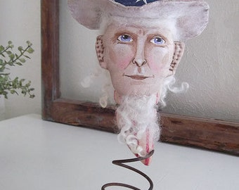 Primitive Folk Art Americana Uncle Sam MakeDo Doll Instant Download PDF EPattern Sewing and Painting Fun!