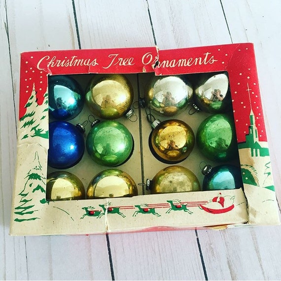 Japanese Christmas Tree Ornaments.12 Vintage Christmas Ornaments Made In Japan Gold Green Blue Silver Small Ball 35mm In Original Box