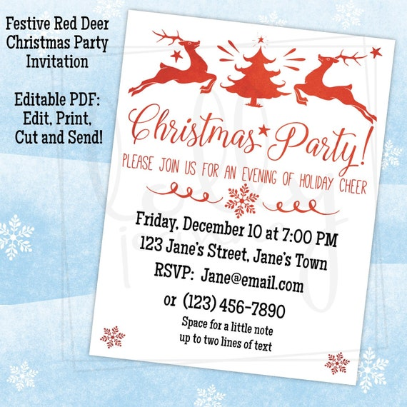 Festive Red Deer Christmas Party Invitation Editable Pdf Printable Digital Instant Download Edit Print Cut And Send