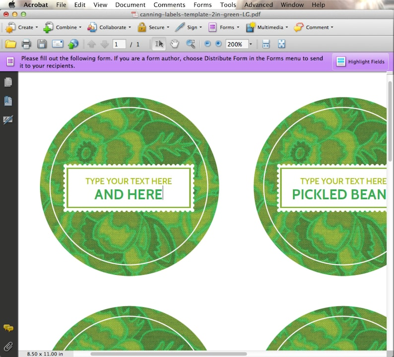 EDITABLE Custom Printable Canning Labels In GREEN YOU