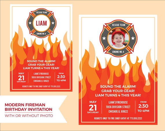 Fireman Invitation Printable For A Firefighter Birthday Party Etsy