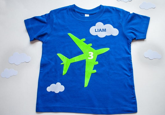 Printable airplane birthday t-shirt PDF iron-on in green: Make your
