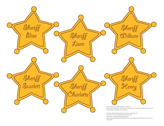 photo relating to Printable Sheriff Badge called Sheriff Badges EDITABLE printable PDF for Cowboy or Toy Tale Birthday Get together (visitor badges, cupcake toppers, entrance doorway symptoms, foods labels)