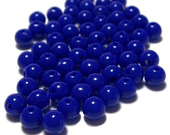 4mm Smooth Round Acrylic Beads in Cobalt blue 200 beads