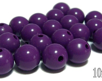 10mm Opaque acrylic plastic beads in Violet 20 beads
