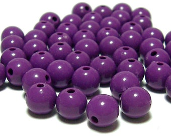BULK QUANITITES 8mm Smooth Round Acrylic Beads in Violet 200 beads