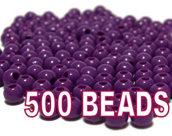 4mm Smooth Round Acrylic Beads in Violet 500 beads