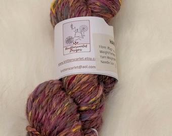 Merino/Alpaca Handspun Yarn in Shades of Purple, Yellow and Pink 92g/132yds