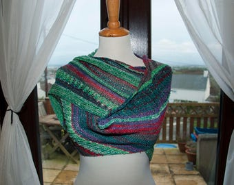 Handknitted Sparkly Shawl/Shawlette in Shades of Purple, Green and Red