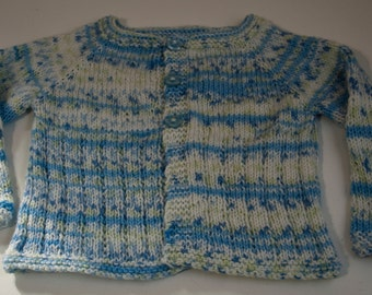 Handknitted Child's Cardigan in White and Blue size 12-18 month old