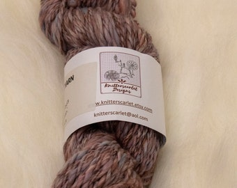 Polwarth Handspun Yarn in Shades of Blue, Bronze and Mauve 96g/108yds