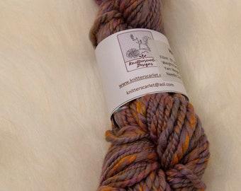 Merino/Bamboo Handspun Yarn in Shades of Gold, Turquoise and Purple 96g/90yds