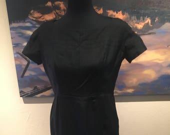1950s 1960s Vintage Black Wiggle Dress