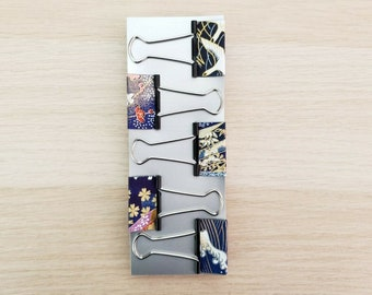 Cute Medium Washi Paper Binder Clips Office Professional Planner Clips, Colorful Foldback Clips, Fancy Office Stationery, Kawaii Paper Clips