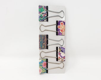 Fancy Japanese Washi Paper Binder Clips, Cute Medium Planner Clips for Office, Bulldog Clips, Glam Binder Clips, Stocking Stuffer