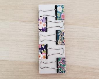 Elegant Medium Binder Clip Set, Fancy Paper Clips, Japanese Washi Paper, Patterned Bulldog Clips, Notebook Clips, Office Supplies