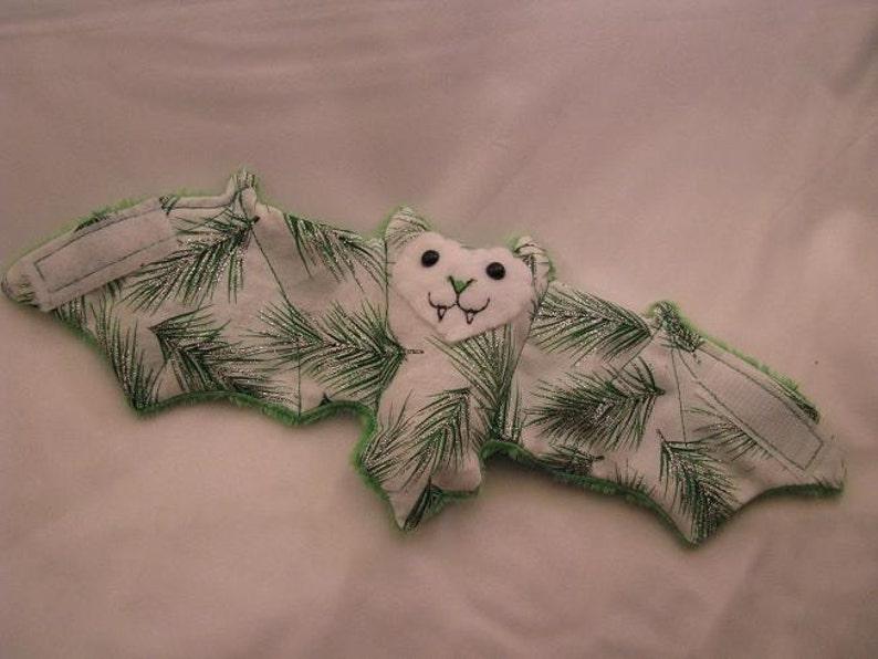 Sparkley Pine Needles on green fleece Bat Cup Sleeve image 0