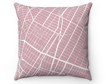NYC Map Throw Pillows 16x16 Greenwich Village 18x18 White Pillow 20x20 Bed Pillow 14x14 Pink Pillow Cover NYC Pillow Home Decor