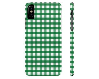 Green Gingham iPhone 6s Case iPhone 6 Plus Case iPhone 7 Case Checkered Samsung Galaxy s7 Case Samsung Galaxy s6 Case iPhone X iPhone 5 Case