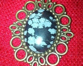 Bronze Steampunk Inspired Snowflake Obsidian Brooch