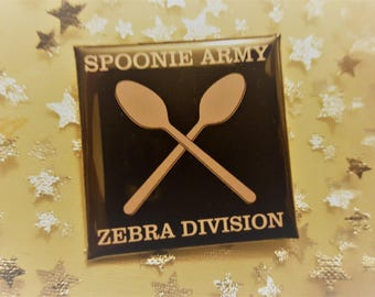 Spoonie Army Zebra Division 38mm Square Pin Badge Ehlers Danlos Syndrome Aware