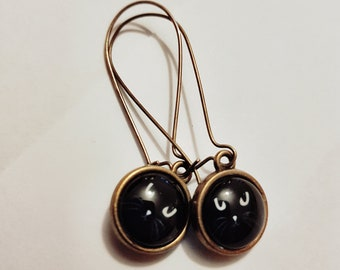 Beauitful Black Cat Bronze Plated Earrings