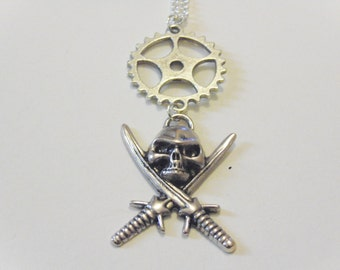 Steampunk Inspired Pirate Skull and Crossbones Necklace