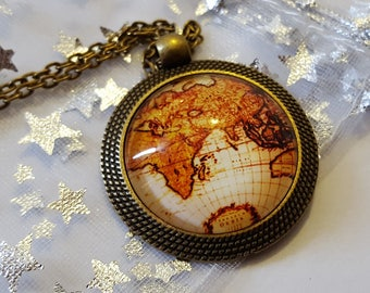 Steampunk Inspired Map Atlas Necklace