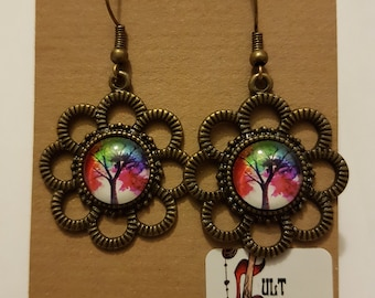 Beautiful Steampunk Tree of Life Antique Bronze Plated Earrings