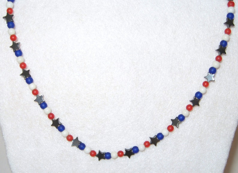 Beautiful Hematite Stars with Red White /& Blue 2 Piece Necklace and Bracelet Set