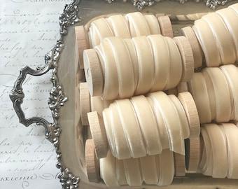 """Antique Ivory Velvet Ribbon, 3/8"""" • 5/8"""" • 7/8"""", Cream Velvet Ribbon, Velvet Ribbon Spool, Vanilla Velvet Ribbon, Ivory Velvet Ribbon"""