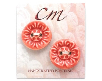 Coral Red Flower Porcelain Buttons, Bright Red Buttons, Ceramic Buttons, Gift for Knitter, Gift for Crocheter, Gift for Crafter